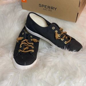 Sperry black and white flat loafers casual shoes